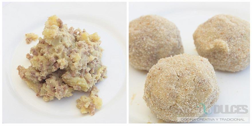 No solo dulces - Tapa bombas patata carne picada