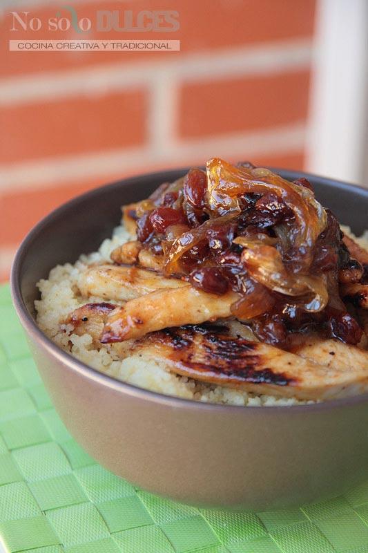 Cuscús con pollo, cebolla y pasas al estilo árabe [Y crónicas de una ajetreada semana]