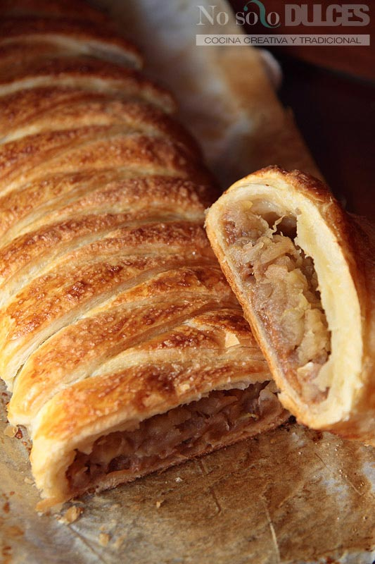 No solo dulces - Trenza de hojaldre dulce de leche manzana asada y nueces