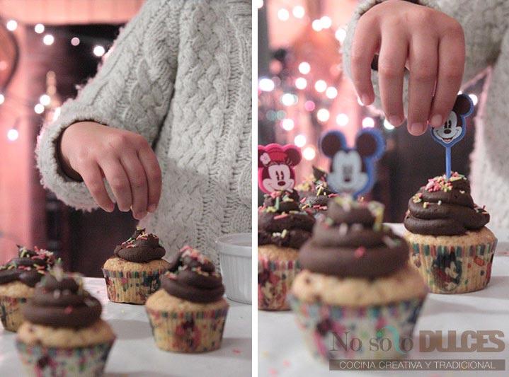 No solo dulces - Cocina dulce con niños - Cupcakes de vainilla y chocolate