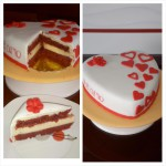 Tarta red velvet cheesecake San valentin