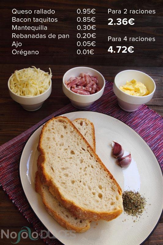 No solo dulces – Pan con ajo, queso y bacon Precios