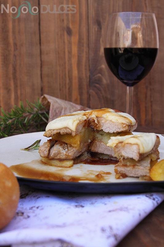 No solo dulces - Milhojas patata y secreto ibérico con queso y Pedro Ximenez