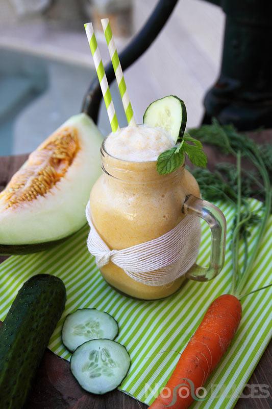 Smoothie veraniego de melón y pepino sin lactosa