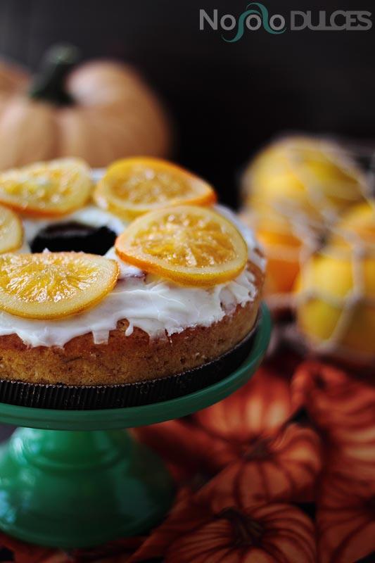 Bizcocho vegano de calabaza y naranja confitada [Sin huevo y sin leche]