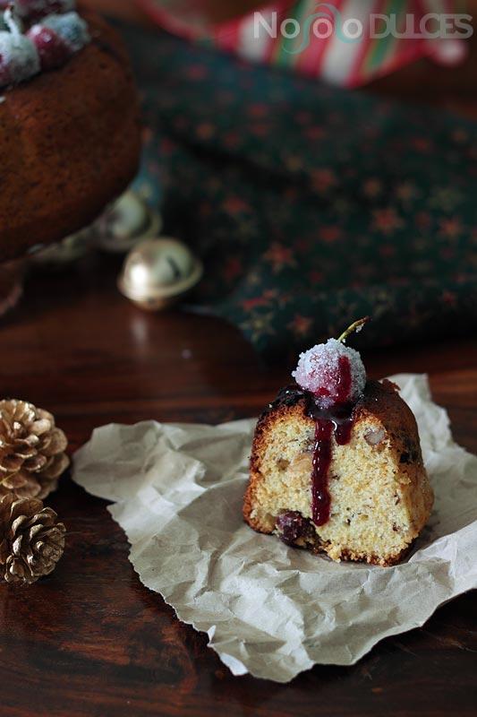 No solo dulces – bizcocho frutos rojos escarchados sin leche para navidad