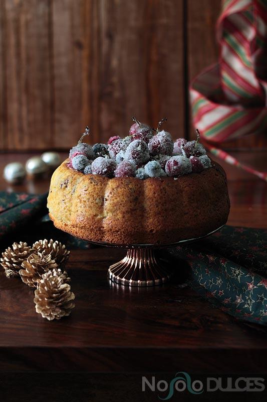 No solo dulces - bizcocho frutos rojos escarchados sin leche para navidad