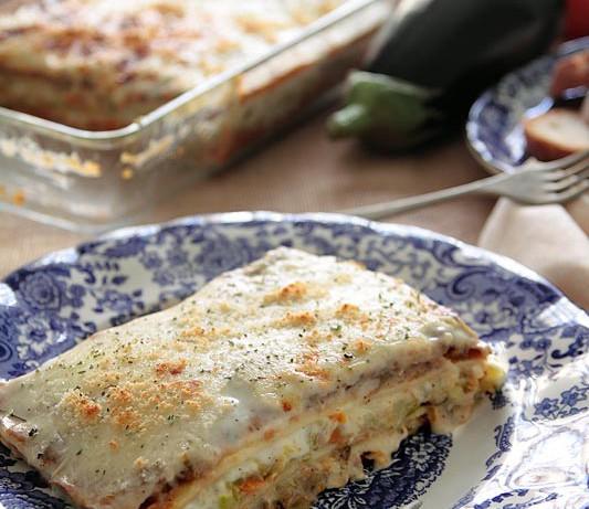 Lasaña de verduras al horno con pasta fresca casera