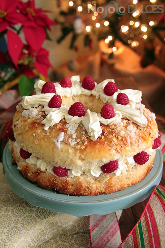 No solo dulces - Receta roscón de reyes chocolate blanco frambuesas