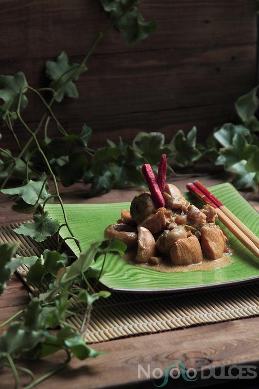 Strogonoff de pollo estilo asiático