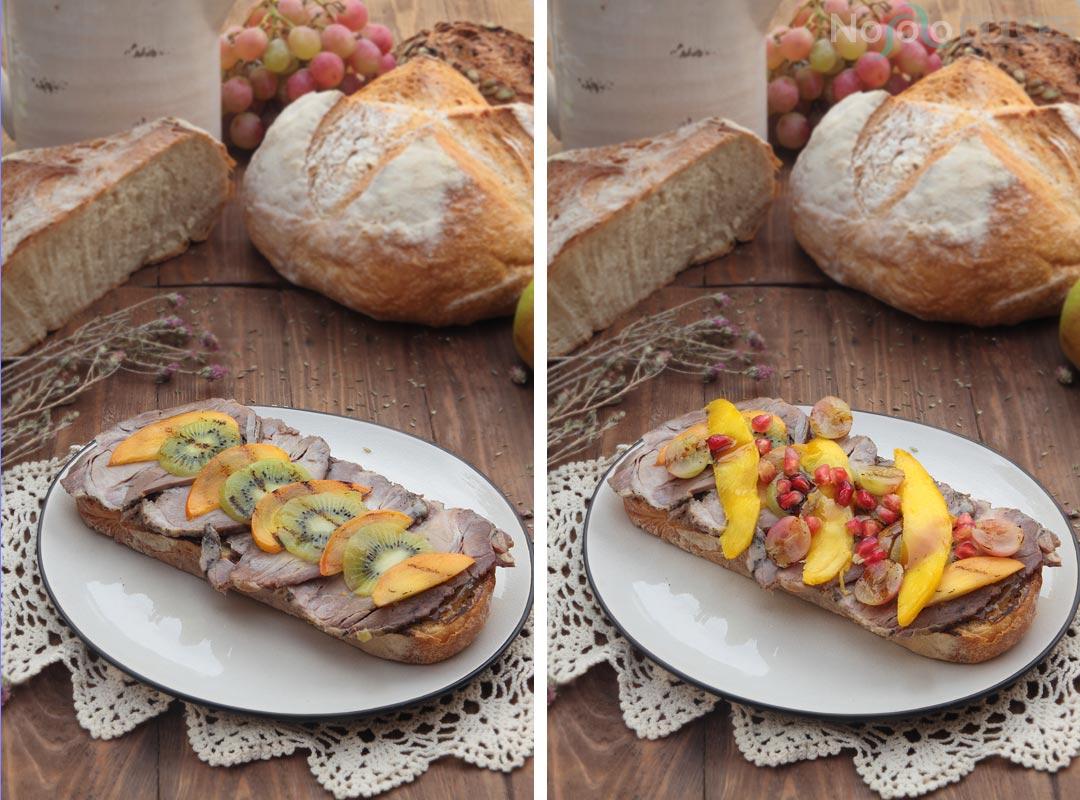 Tosta de carne mechada y fruta a la plancha