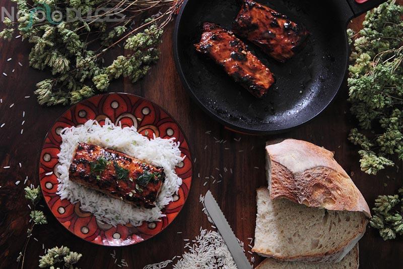 Lomos de salmón con salsa teriyaki