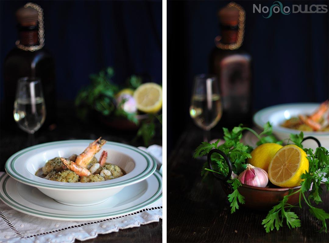 Albóndigas de bacalao y gambas en salsa verde