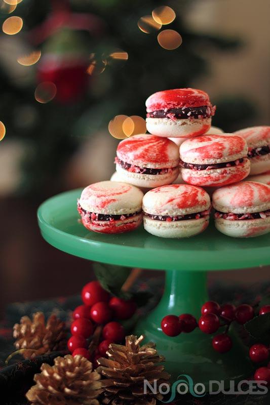 Macarons peppermint para Navidad