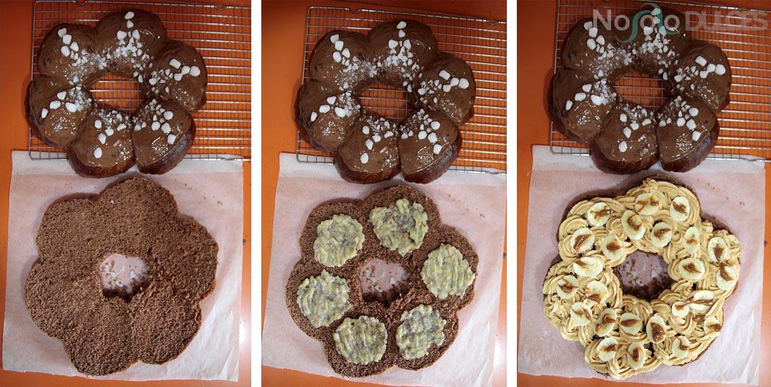 Receta de roscón de reyes de chocolate con mousse de dulce de leche y plátano natural. Receta de roscón tierno y jugoso con un relleno muy original