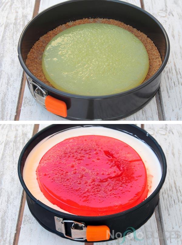 Receta de tarta de mousse de yogur con gelatinas de sandía y melón. Tarta con mucho sabor a verano, fresca y con fruta natural.