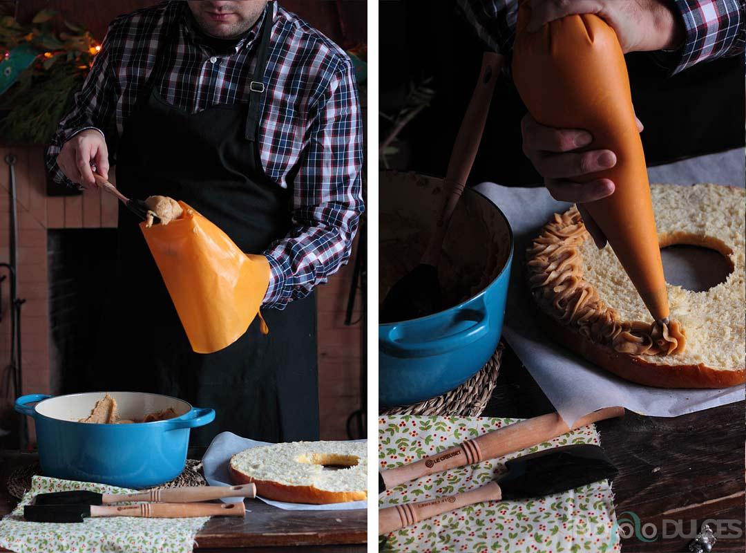 Roscón de reyes con crema pastelera de turrón