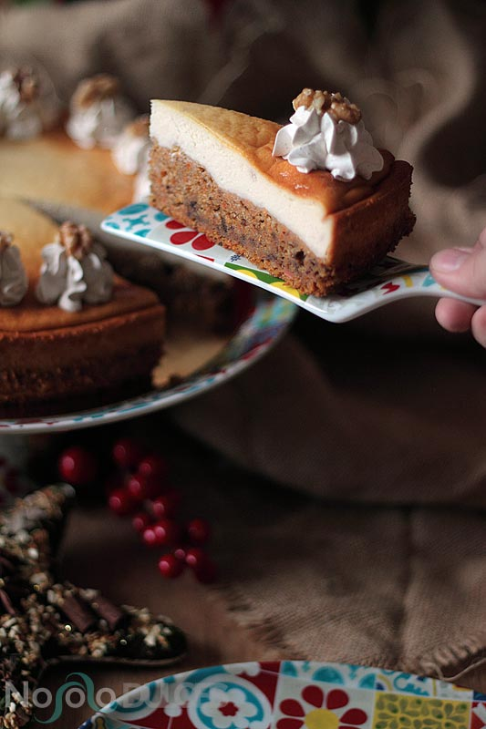 Tarta de queso con tarta de zanahoria sin gluten